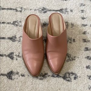 ABLE pink leather mules
